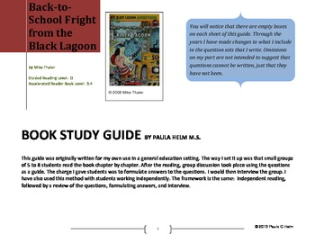 Novel Study for Back-to-School Fright from the Black Lagoon