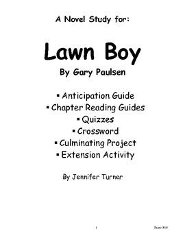 Novel Study for Gary Paulsen's Lawn Boy