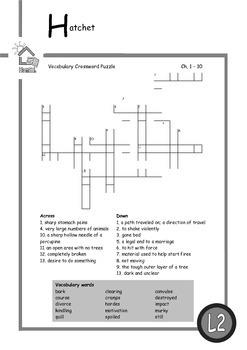 Novel Study for Hatchet by Gary Paulsen (Level 2)