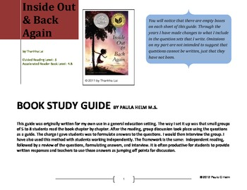 Novel Study for Inside Out and Back Again by Thanhha Lai by Paula Helm