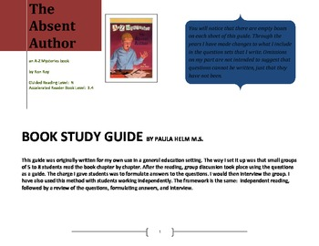 Novel Study for The Absent Author an A-Z Mysteries book by Ron Roy by Paula Helm