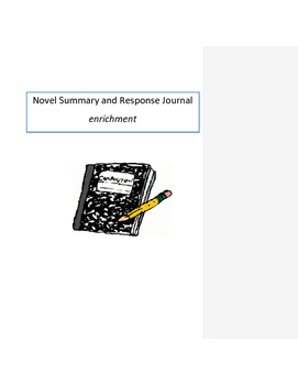 Novel Summary and Response Journal