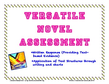 Novel Test: Written Response & Applying Text Structures-Any Novel