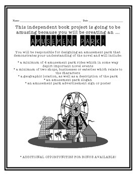 Novel-Themed Amusement Park! -- Great Book Report Alternative