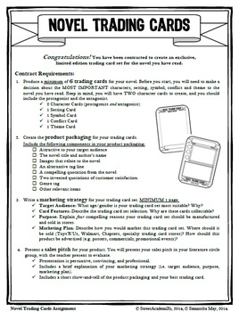 Novel Trading Cards Assignment - For Any Novel!
