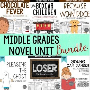 Novel Study Unit Bundle for Grades 3-5 CCSS Aligned