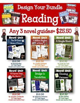 Novel Study Unit Custom Bundle Pick 3!