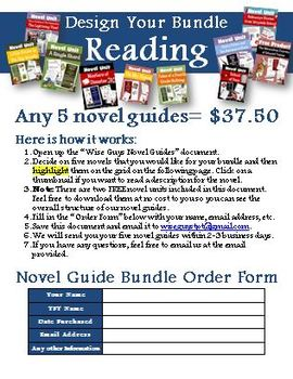 Novel Study Unit Custom Bundle Pick 5