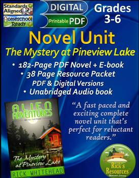 Novel Unit: Mystery at Pineview Lake + Audio book + Activities  Print & Digital