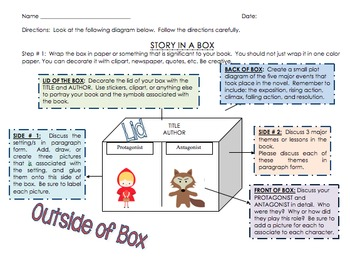 """Novel and Story Project-""""Novel/Story in a Box""""-Creative and Engaging Project"""