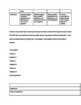 Novel writing assignments and rubric