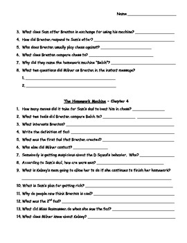 """Novel/Literature Study for the book """"The Homework Machine"""" by Andrew Clements"""