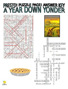 Novels - A Year Down Yonder Puzzle Page (Wordsearch and Criss-Cross)