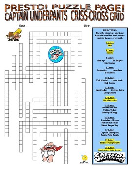 Novels : Captain Underpants Puzzle Page (Wordsearch and Criss-Cross)