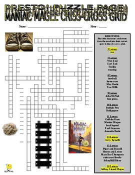 Novels : MANIAC MAGEE Puzzle Page (Wordsearch and Criss-Cross)