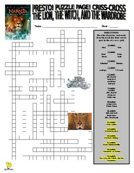 Novels : The Lion, Witch, and Wardrobe Puzzle Page (Wordsearch and Criss-Cross)