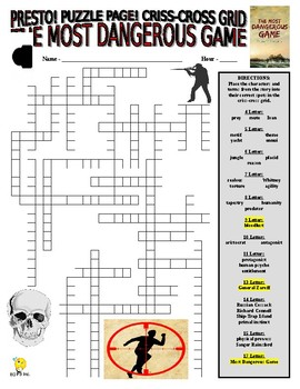 Novels : The Most Dangerous Game Puzzle Page (Wordsearch and Criss-Cross)
