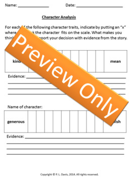 Novels and Short Stories Worsheets and  Assessment Checklist