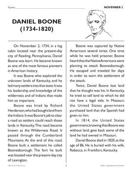 November 1-5: Daily Comprehension {Freebie}