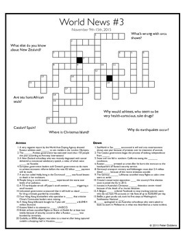 November 15th, 2015 - World News Crosswords