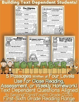 November Passages w/ CCSS Text Based Questions Close Readi