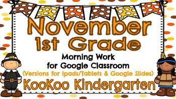 November 1st Grade Morning Work for Google Classroom