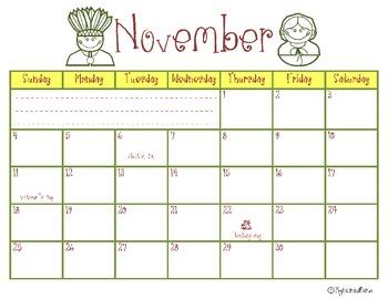 November 2012 Calendar-Stay Organized!