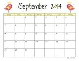 2014-2015 School Year Blank Calendar