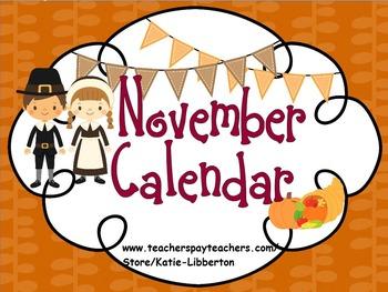November Kindergarten ActivInspire Calendar