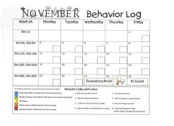 November 2013 Behavior Log