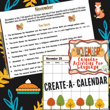November Calendar Activities for Language