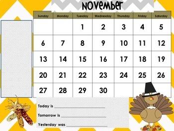 November 2018 Interactive Whiteboard Calendar