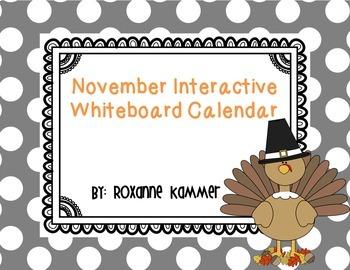 November 2016 Interactive Whiteboard Calendar