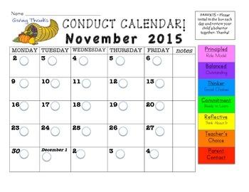 November 2015 Conduct Calendar
