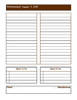 November 2015 Daily Two Prep Planner