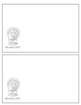 November 2015 notecards