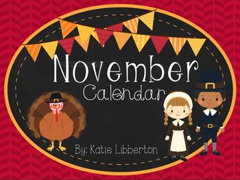 November 2016 First Grade ActivInspire Calendar