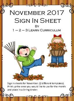 November 2017 Sign In Sheets - Editable
