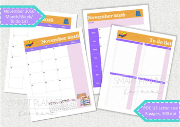 November 2016 planner - 2 pages spread months, week planne