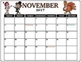 November 2017 Calendar in color