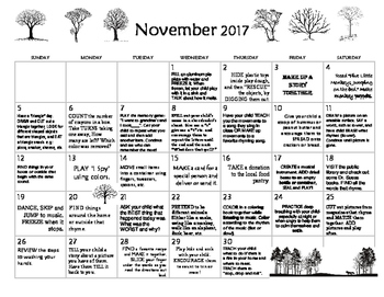 November 2017- Early Learning Calendar