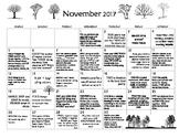 November 2017- Early Learning Calendar
