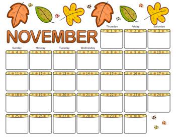 November 2018 Calendar by ThistleGirl Designs | Teachers ...