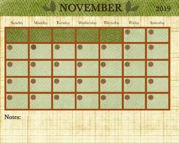 November 2018 Calendar - 8x12