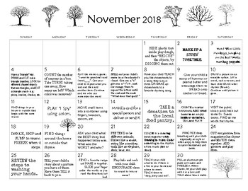 November 2018- Early Learning Activity Calendar