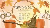 November 2018 Harry Potter Fall Calendar Computer Wallpaper
