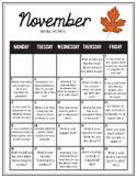 November 2018 Writing Prompt Calendar