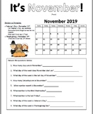 November 2019 Calendar Practice Pages