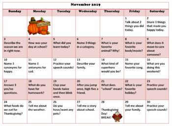 November 2019 Home Practice Calendar-Speech Therapy