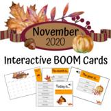 November 2020 Calendar - Interactive BOOM Card Deck and FREE Printable Calendar